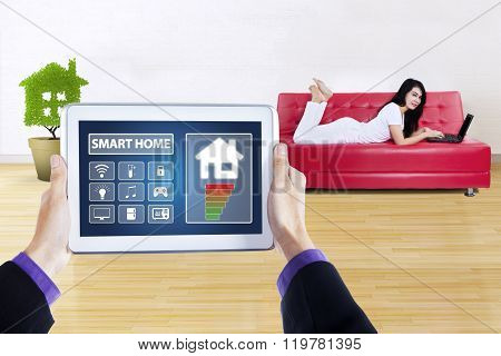 Controller Of Smart Home And Pretty Woman