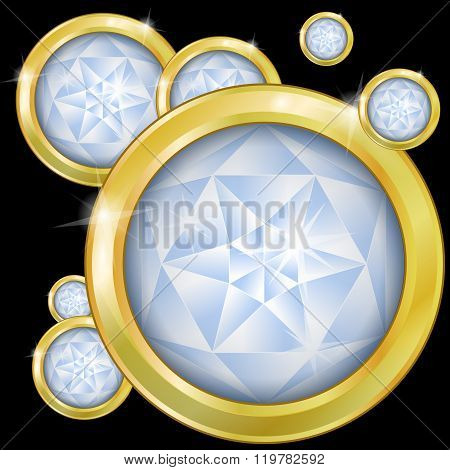 Glowing diamonds set in gold on a black background