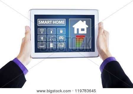 Hands With Smart Home Controller System On Tablet