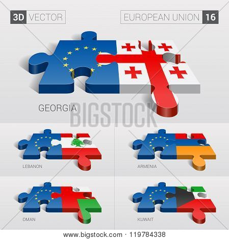 European Union Flag. 3d vector puzzle. Set 16.