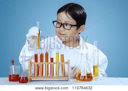 Little Scientist With Chemical Fluid