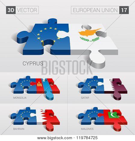 European Union Flag. 3d vector puzzle. Set 17.