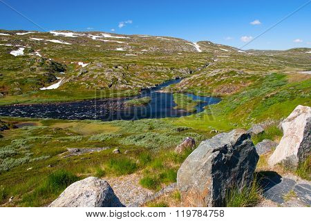 Norway. A Look After The Journey Through The Pass In Mountains