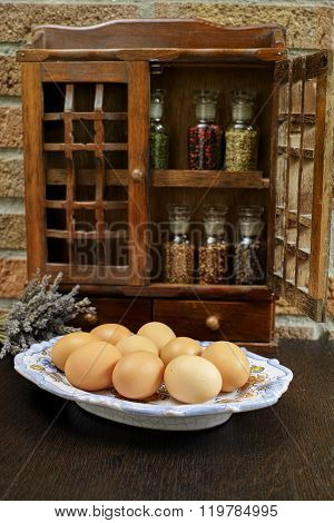 Farms Vintage Wooden Spice Rack Or Storage Cabinet With Fresh Eggs