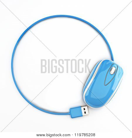 Blue mouse in the shape of a circle with room for your text or copy space advertisement on a white b