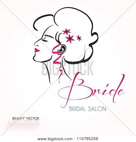 Beautiful woman's head silhouette vector illustration