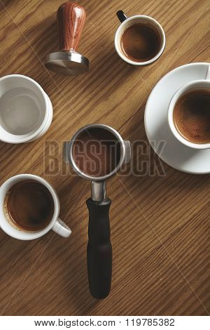 Top View Portafilter Tamper Coffee Ceramic Cups