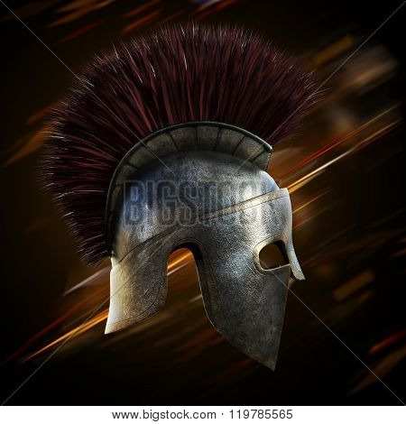 Spartan helmet with an abstract light ray black background.