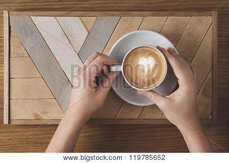 Woman Hands Holds Cappuccino Cup Heart Foam Shape
