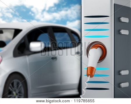 Electric car plugged in a charging station