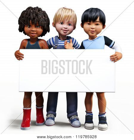 Three boys holding up a empty sign white board with room for your text or copy space advertisement o