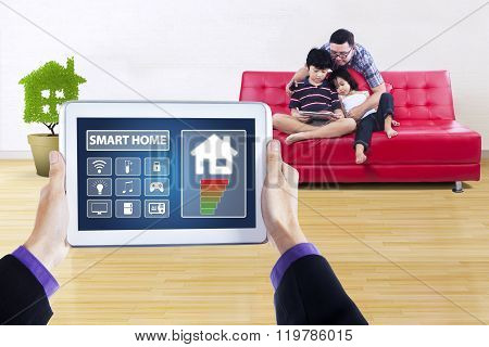 Smart Home Controller With Children And Dad