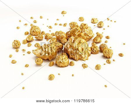 Gold nugget particules isolated on white background