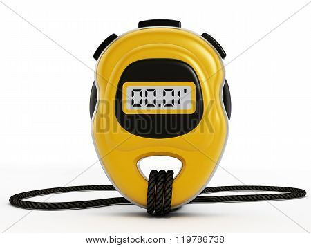 Yellow digital chronometer isolated on white background