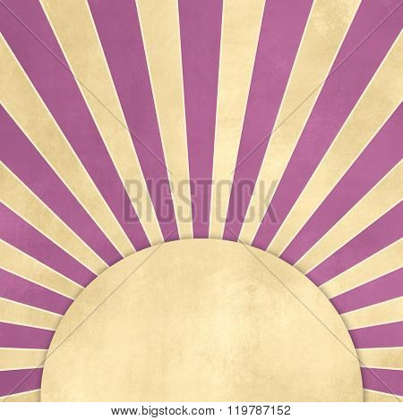 Retro starburst with purple rays against beige background with tan banner