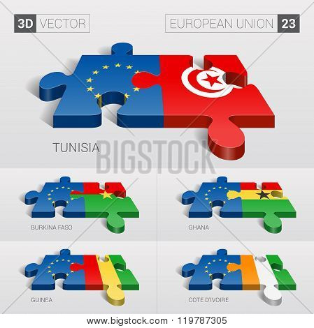 European Union Flag. 3d vector puzzle. Set 2