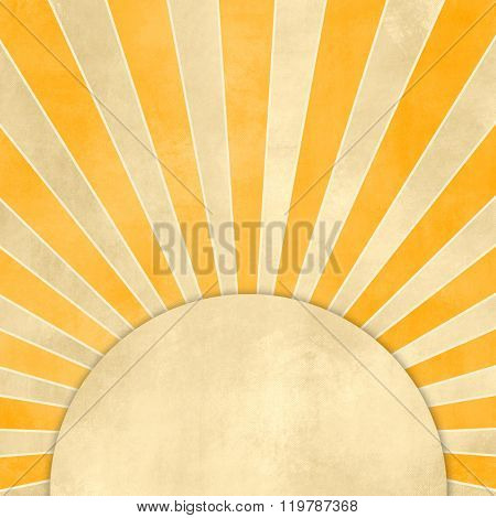 Yellow sunburst background retro with circle banner