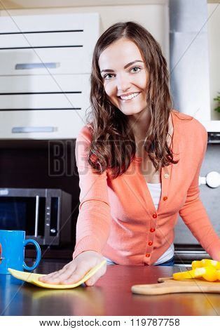 Attractive Woman Cleaning The Counter In The Kitchen