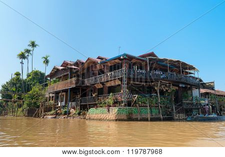 Traditional Restaurant By Thw Water In Inle Mayanmar