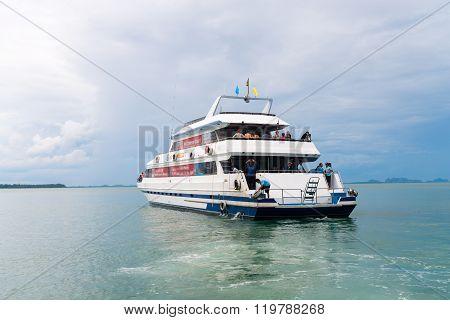 Luxury Charter Boat Near Krabi Thailand.