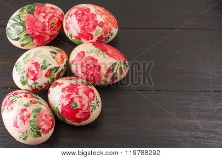 Top View Of Decorated Easter Eggs