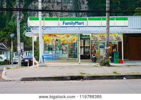 KRABI THAILAND - 13 OCT 2014: Ao Nang Family Mart twenty-four-hour convenience store with many ATM machines.