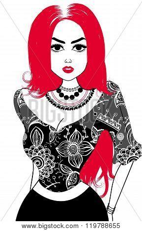 Vector Image Of Gypsy. Black And Fuchsia