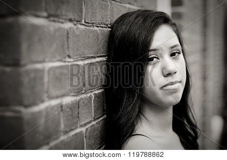 Close-up Of Sad Attractive Multiracial Teen