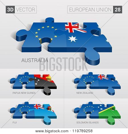 European Union Flag. 3d vector puzzle. Set 28.