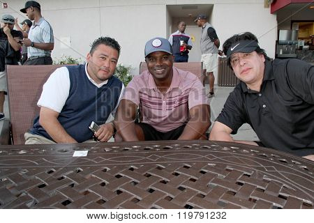 John Ortiz, Rob Johnson and Rene Gonzales at the inaugural Stephen Bishop celebrity golf invitational benefiting R.A.K.E. on Feb. 15, 2016 at Calabasas Country Club in Calabasas, CA.