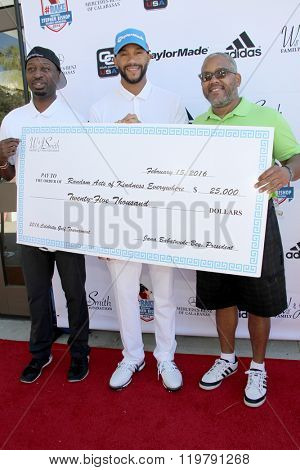 Ricky Smith, Stephen Bishop and Harry Smith at the inaugural Stephen Bishop celebrity golf invitational benefiting R.A.K.E. on Feb. 15, 2016 at Calabasas Country Club in Calabasas, CA.