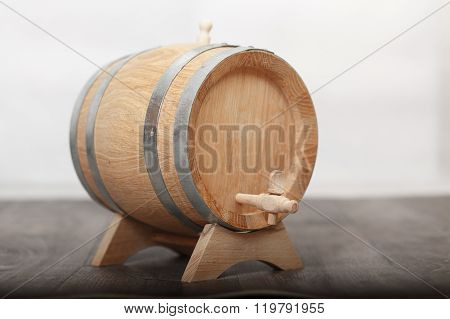 Closeup Of A Wooden Cask Of Wine