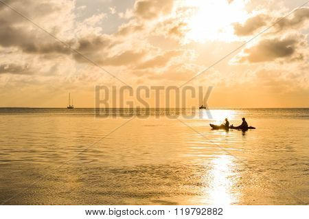Sunset In The Caribbean Sea By Caye Caulker Island, Belize