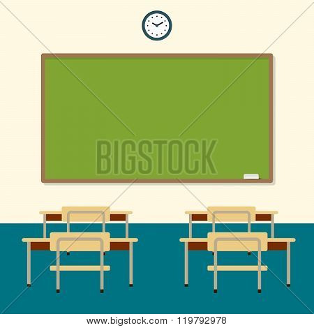 School classroom with chalkboard and desks. education board, table and study. Vector flat illustrati