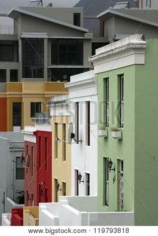 Colorful houses on Bo-Kaap Street in Cape Town