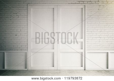 Empty Interior With White Doors And Brick Wall, 3D Render