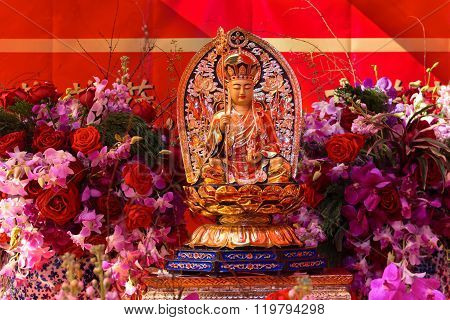 Statue On Religious Altar For Chinese Lunar New Year