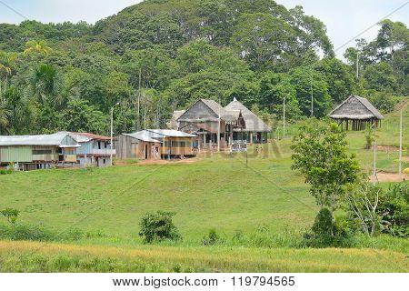 NAUTA, PERU - OCTOBER 14, 2015: Puerto Prado Village near Nauta. An small community on the  Maranon River in the Peruvian Amazon.