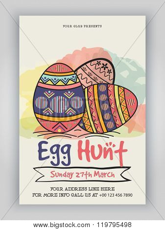 Colorful floral eggs decorated, Pamphlet, Banner or Flyer design for Easter Egg Hunt celebration.