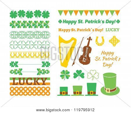 Set of Saint Patricks Day design elements. Vector illustration