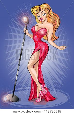 Sexy Pin-up Girl Wearing Red Dress, Singing With Microphone