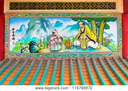 Colorful Religious Painting At Li Thi Miew Shrine