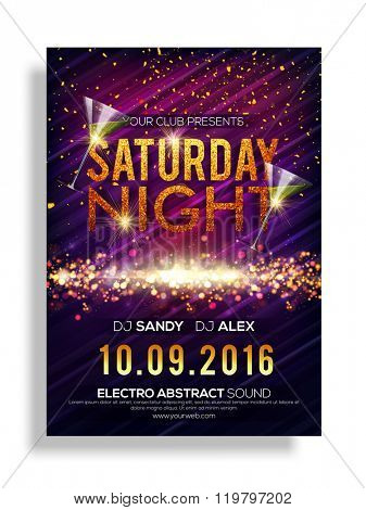 Saturday Night Party celebration, Elegant shiny Flyer, Banner or Pamphlet.