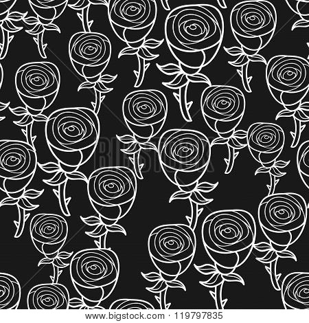 Black and white seamless pattern with romantic flowers buds.