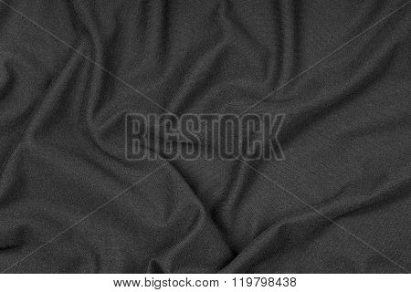 Wrinkled Texture Of Black Fabric