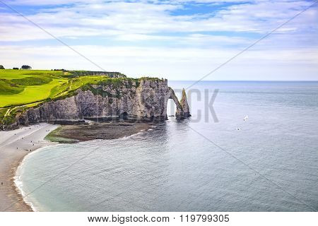 Etretat Aval Cliff And Rocks Landmark And Blue Ocean . Normandy, France.