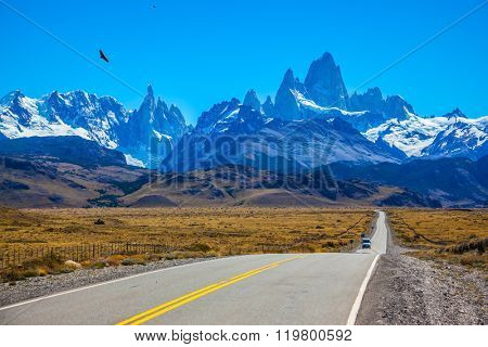 Argentine Patagonia. Fine concrete highway to the majestic Mount Fitz Roy. Sunny day in February