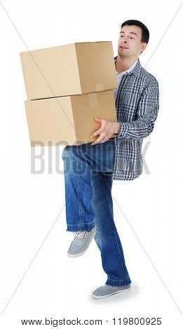 Man holding carton boxes isolated on white background