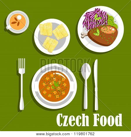 Czech cuisine dishes and dessert cake