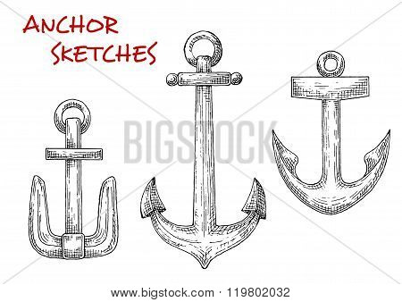 Retro sea anchors sketches set
